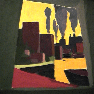Usines - 1980 Acrylique sur toile 41cm X 51cm Louis Fortier PRIX : 475$