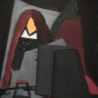 Le petit banc - 1980 Acrylique sur toile 41cm X 51cm Louis Fortier PRIX : 475$