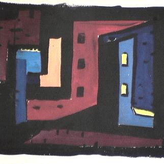 Cabanes rouge et bleu - 1980 Acrylique sur carton 30cm X 22cm Louis Fortier PRIX : 150$