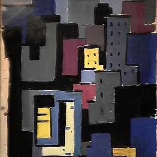 Complexe - 1980 Acrylique sur carton 34cm X 51cm Louis Fortier PRIX : 400$