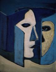 Face cachée - 1984 Acrylique sur masonite 21cm X 26cm Louis Fortier