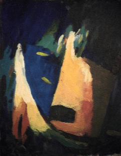 Haine - 1984 Acrylique sur masonite 21cm X 26cm Louis Fortier