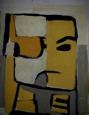 Mutation - 1984 Acrylique sur carton 21cm X 26cm Louis Fortier