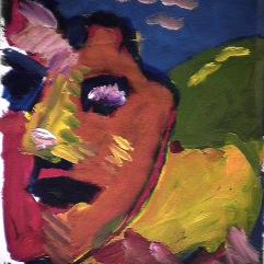 Révolte - 1984 Acrylique sur carton 21cm X 26cm Louis Fortier