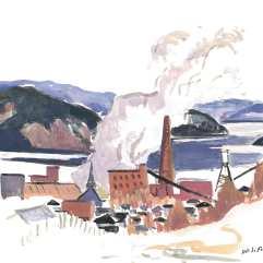 Papetière Donohue - 1979 Gouache sur carton 29cm X 36cm Louis Fortier PRIX : Oeuvre non disponible (vendue)