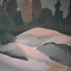 Colline - 1982 Acrylique sur masonite 51cm X 41cm Louis Fortier PRIX : 300$