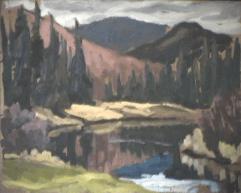 Rivière et montagnes - 1979 Acrylique sur masonite 51cm X 41cm Louis Fortier