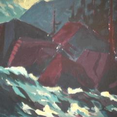 Rapides Saint-Adolphe - 1979 Acrylique sur masonite 51cm X 41cm Louis Fortier PRIX : 300$