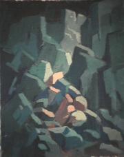Éboulements - 1979 Acrylique sur masonite 41cm X 51cm Louis Fortier