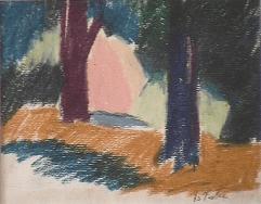 Forêt - 1979 Pastel sur carton 32cm X 28cm Louis Fortier