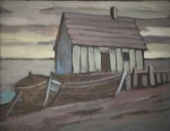 Cabane de pêche - 1979 Acrylique sur masonite 26cm X 20cm Louis Fortier