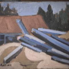 Moulin à Saint-Adolphe - 1979 Acrylique sur masonite 26cm X 20cm Louis Fortier PRIX : 75$