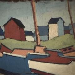 Village de pêcheurs - 1979 Acrylique sur masonite 26cm X 20cm Louis Fortier PRIX : 75$