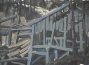 Vieux moulin - 1979 Gouache sur carton 29cm X 45cm Louis Fortier