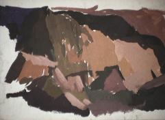Montagnes - 1979 Gouache sur carton 38cm X 26cm Louis Fortier
