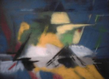 Explosion astrale - 1987-1990 Aérosol sur masonite 122cm X 92cm Louis Fortier