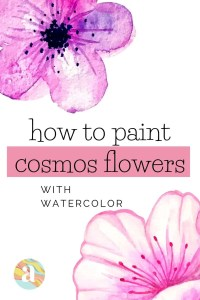 how to paint cosmos flowers in watercolor