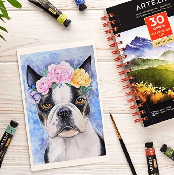 watercolor painting cute dog