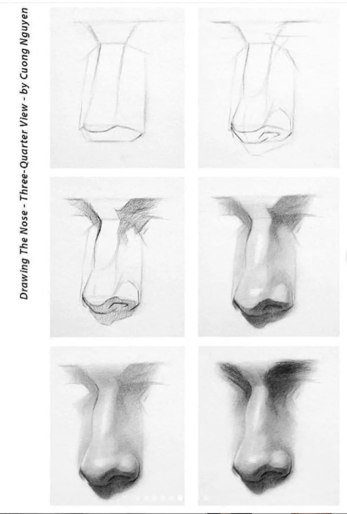 How to draw a nose 8