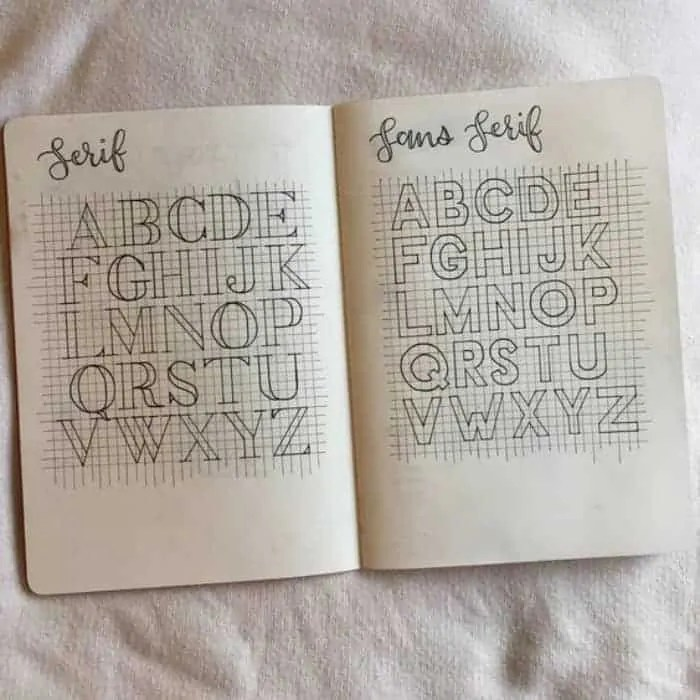bullet journal font Inspo