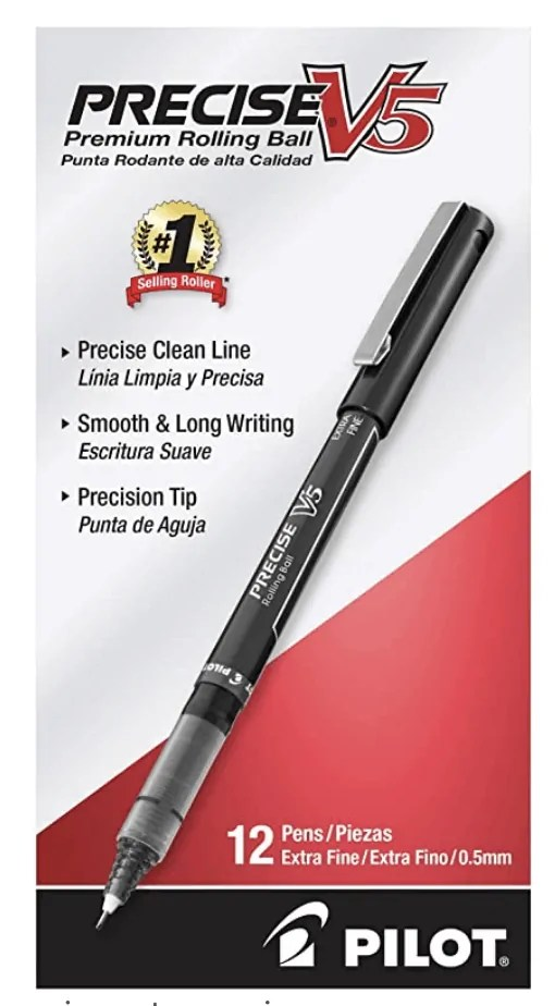 PILOT Precise V5 Stick Liquid Ink Rolling Ball Stick Pens, Extra Fine Point, Black Ink, 12 Count (35334)