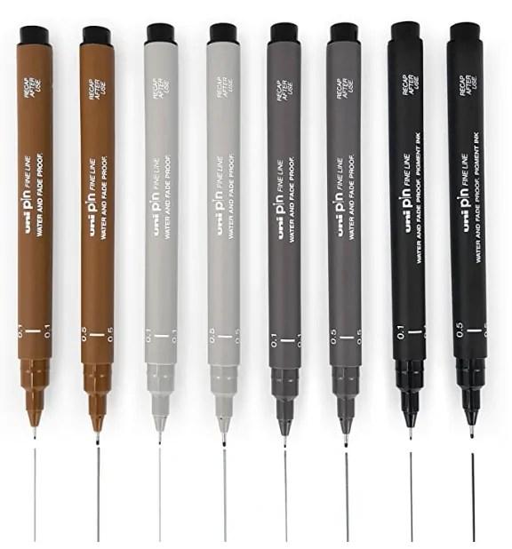 Uni Pin Fineliner Drawing Pen - Sketching Set of 8-0.1mm / 0.5mm - Black, Dark Gray, Light Gray, and Sepia