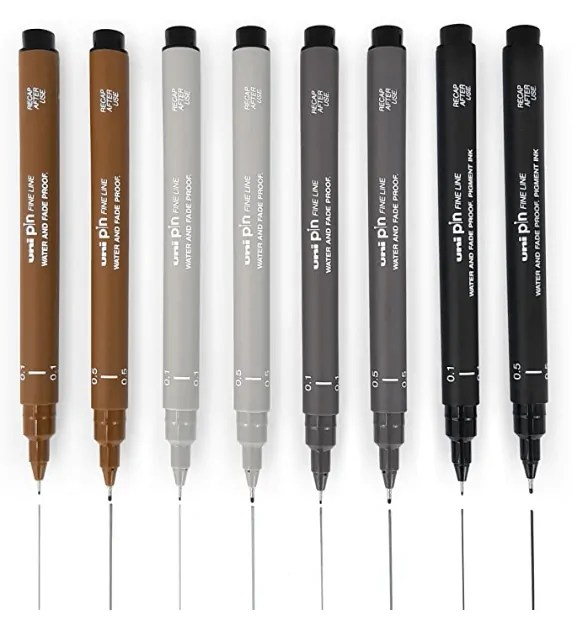 Uni Pin Fineliner Drawing Pen - Sketching Set of 8-0.1mm / 0.5mm - Black, Dark Gray, Light Gray, and Sepia