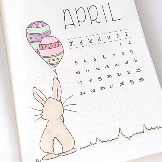 April Monthly Cover For Bullet Journal