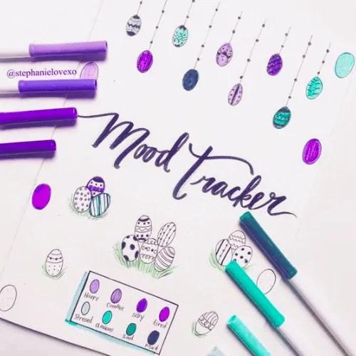 Easter Bullet Journal Mood Tracker