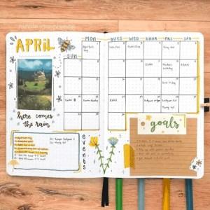 Easter Bullet Journal Monthly Spread