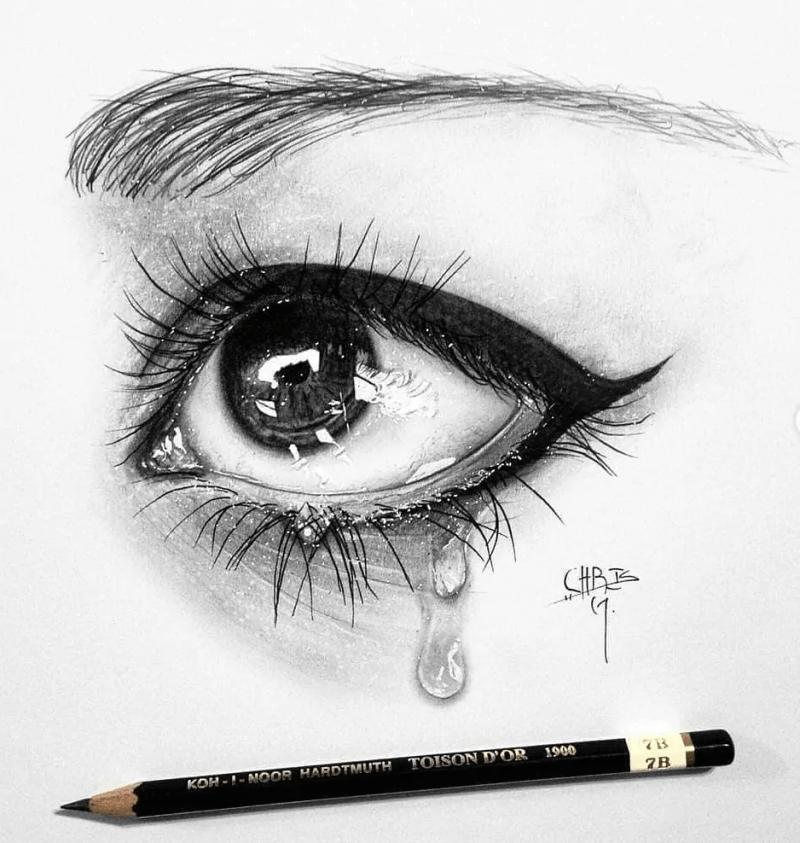 realistic eye pencil drawing