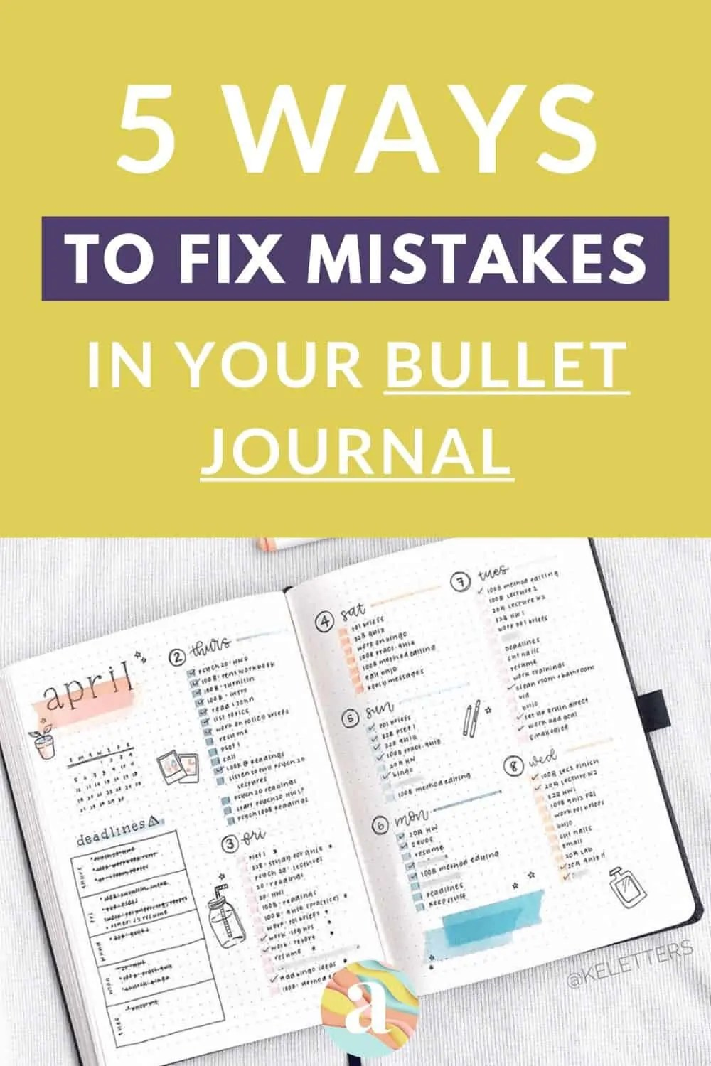 5 Ways to Fix Mistakes in Bullet Journal 5