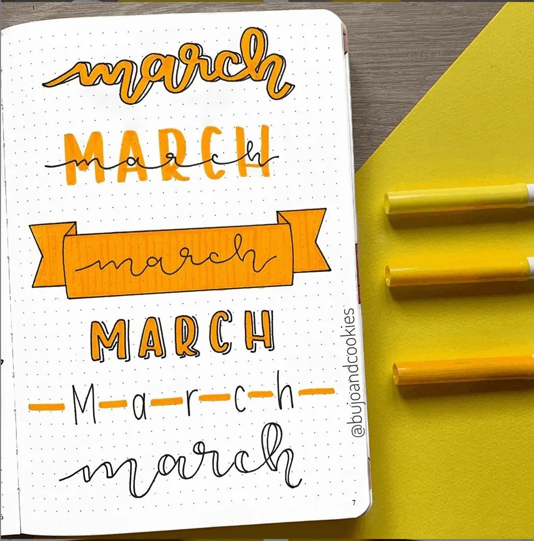 march bullet journal header ideas