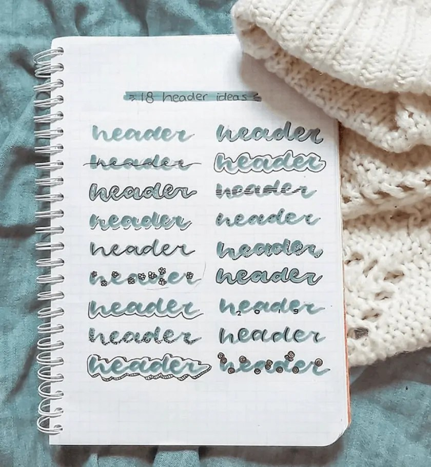 bujo header ideas