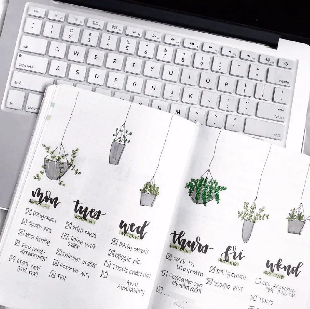 weekly spread ideas for bullet journal