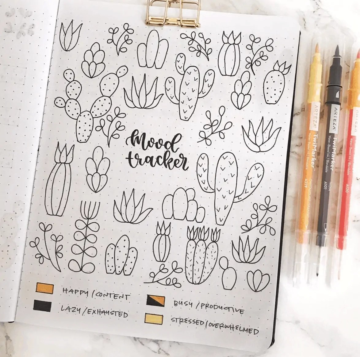 Cactus and Succulent Doodle Ideas for Bullet Journal 14