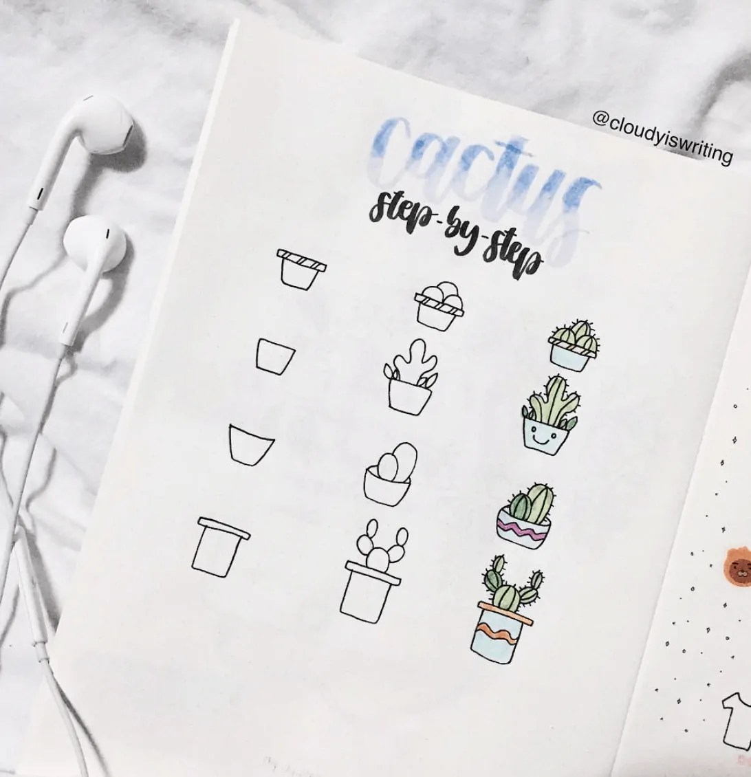 how to doodle cactus