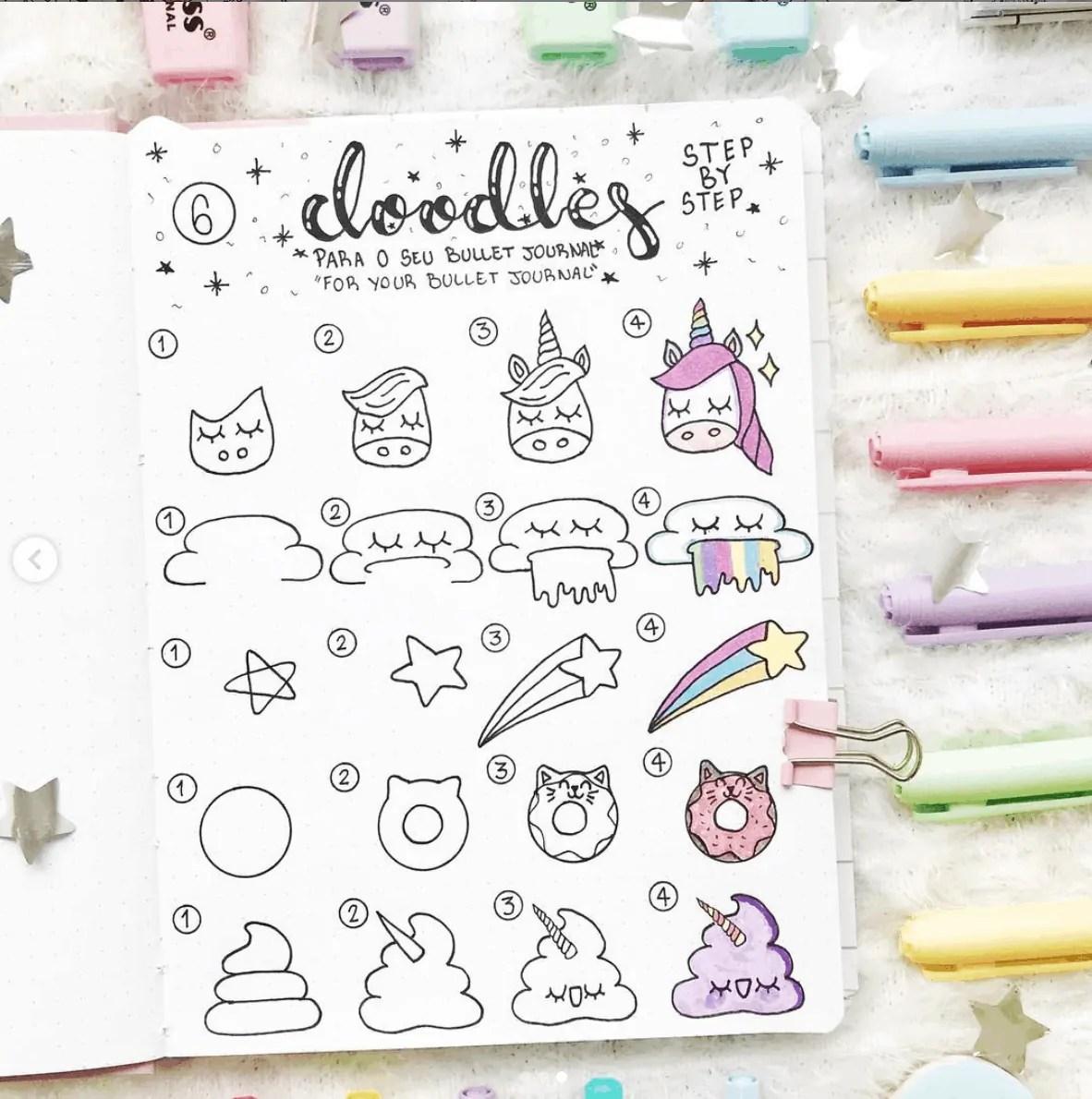 unicorn bullet journal doodle