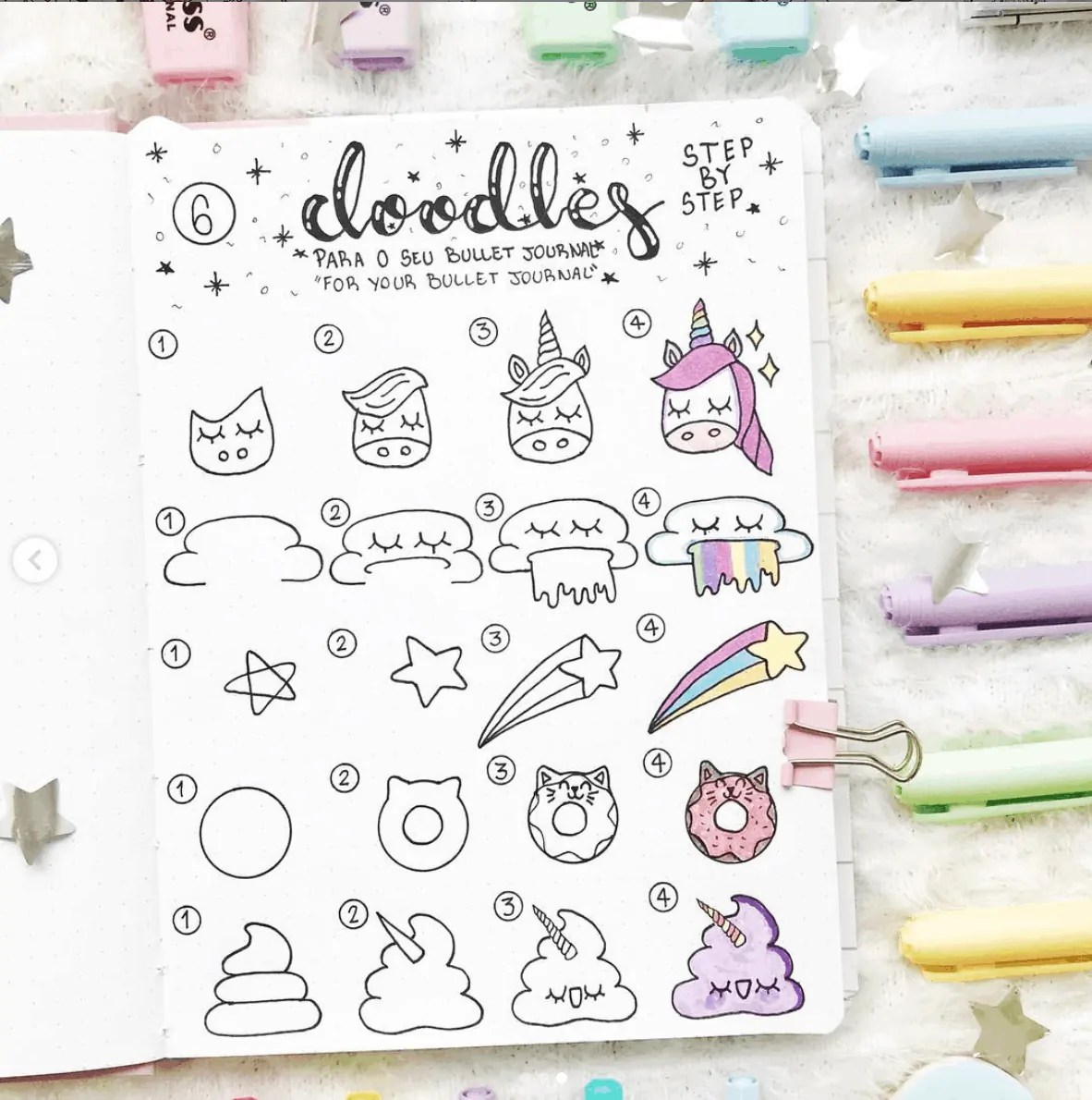 unicorn bullet journal doodle