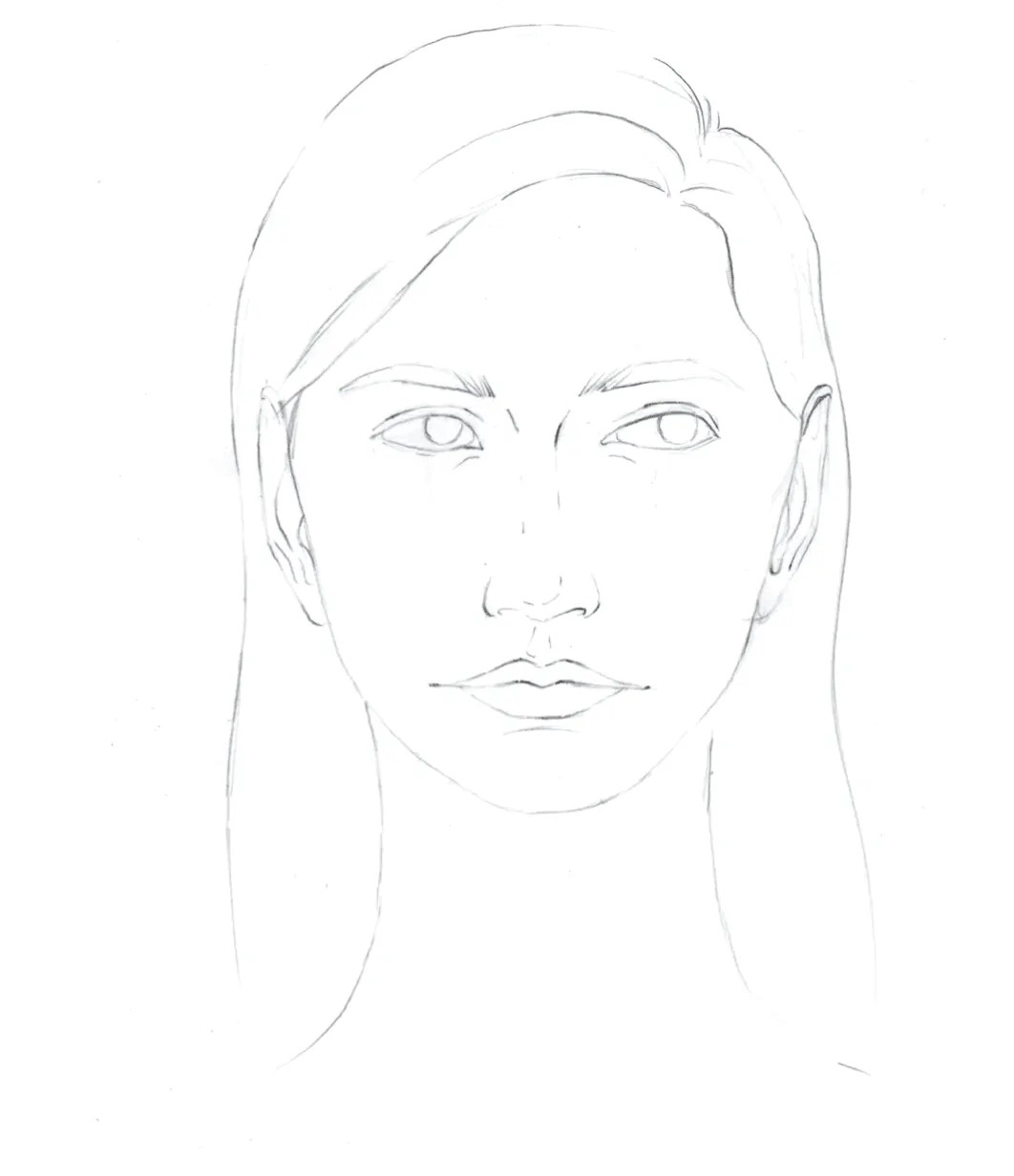 How to draw female face in 8 steps 14