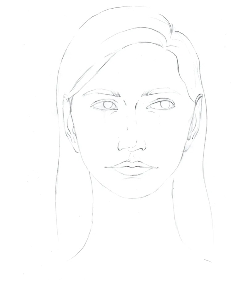 How to draw female face in 8 steps 1