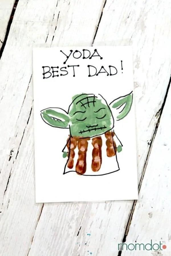 Yoda Best Dad Hand Print Card - MomDot