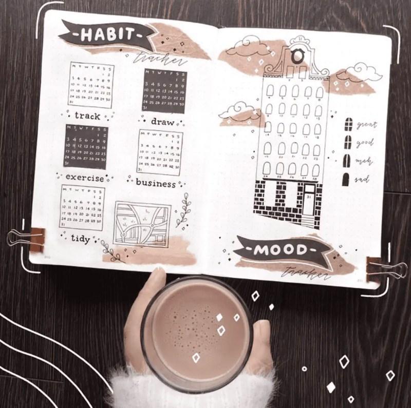 Kraft Paper Bullet Journal Habit Tracker