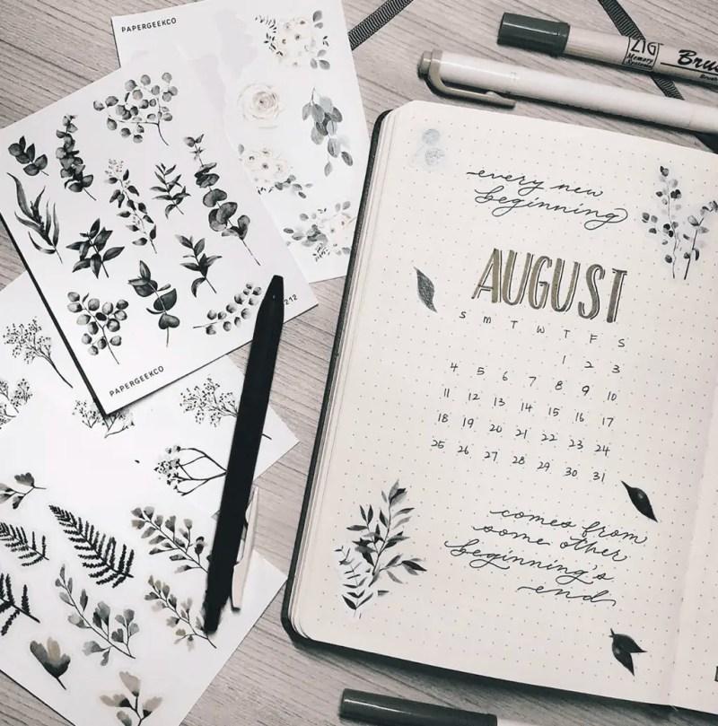 August Bullet Journal