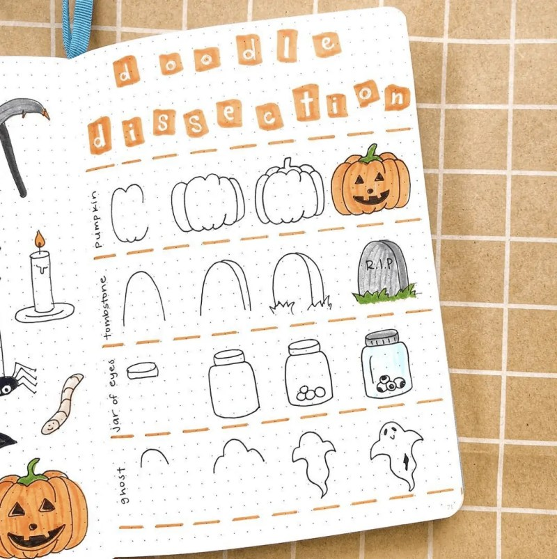 100 Bullet Journal Fall Doodles Halloween Ideas 23