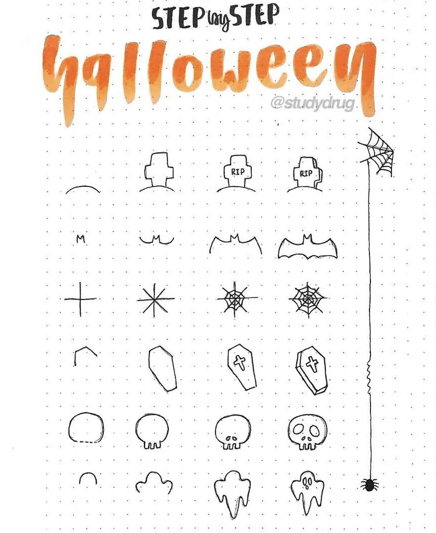 100 Bullet Journal Fall Doodles Halloween Ideas 27