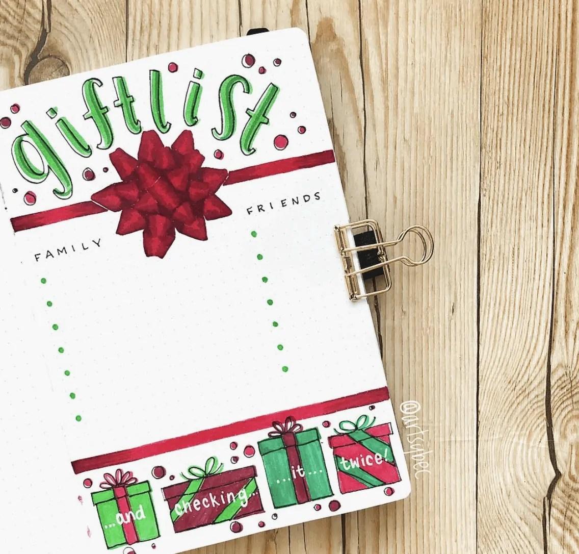 December Bullet Journal Page Ideas: