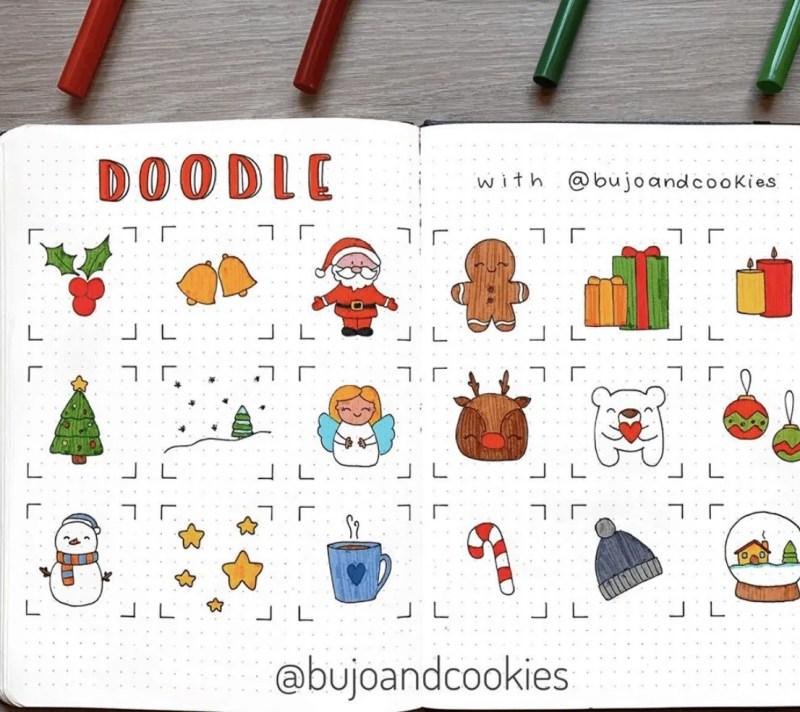 December Bullet Journal Doodle Ideas: