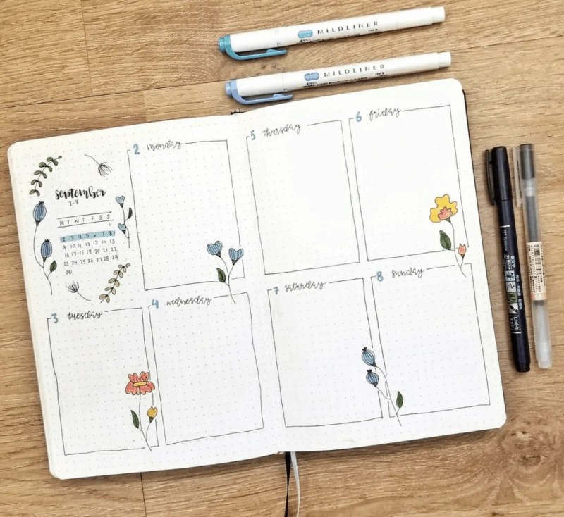 September Bullet Journal Weekly Spreads