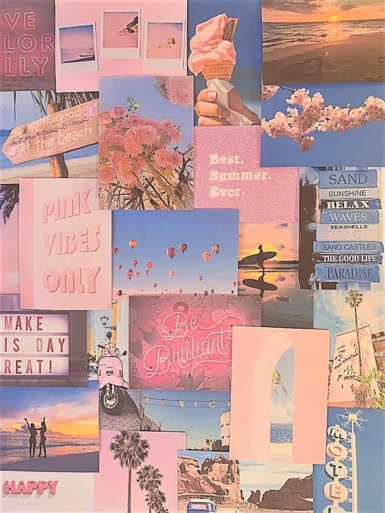 Pretty-Peachy-Pink-Pastel-Aesthetic-Blue-Wall-Collage-Kit-VSCO-Vintage-Room-Decor-Large-size-prints-photos-pictures 5